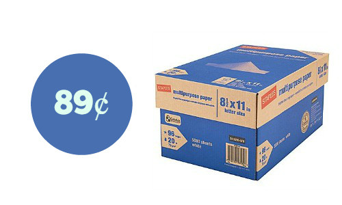 Staples: 10 Reams of Multipurpose Paper for 89¢