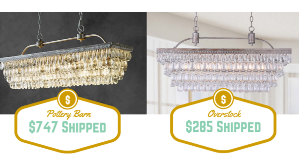 Cute I recently found this beautiful regal chandelier on Pottery barn and could hardly tell the difference between it and the similar one I found at Overstock