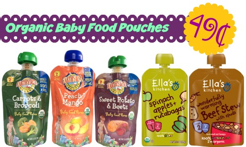 This week there is a great Target deal on organic baby food pouches. Once you combine a FREE $5 Gift Card, Cartwheel offer + coupons they are 49¢ each.