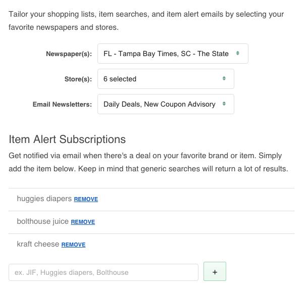 item alerts