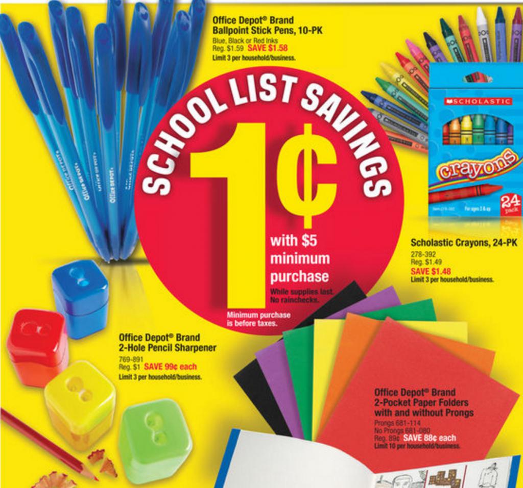 1 162 School Supplies Next Week At Office Depot Max