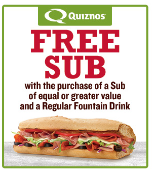free sub quiznos coupon