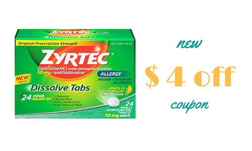 picture relating to Zyrtec Coupon Printable titled Contemporary $4 Off Zyrtec Coupon :: Southern Savers