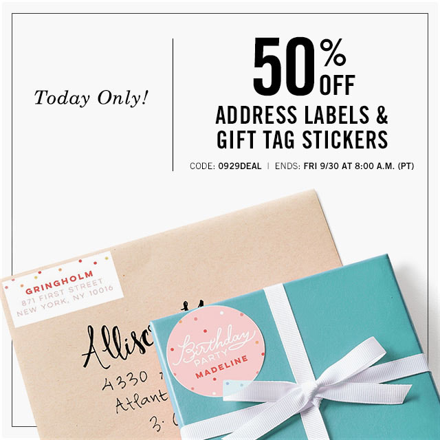 50% Off Address Labels & Gift Tags