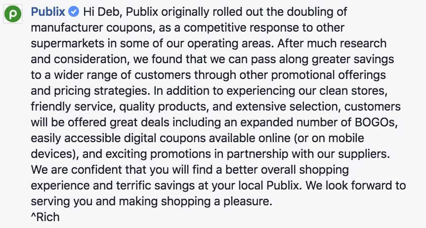 publix no longer doubling