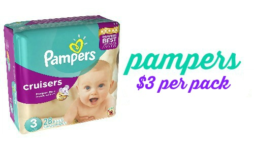 pampers diapers $3 per pack