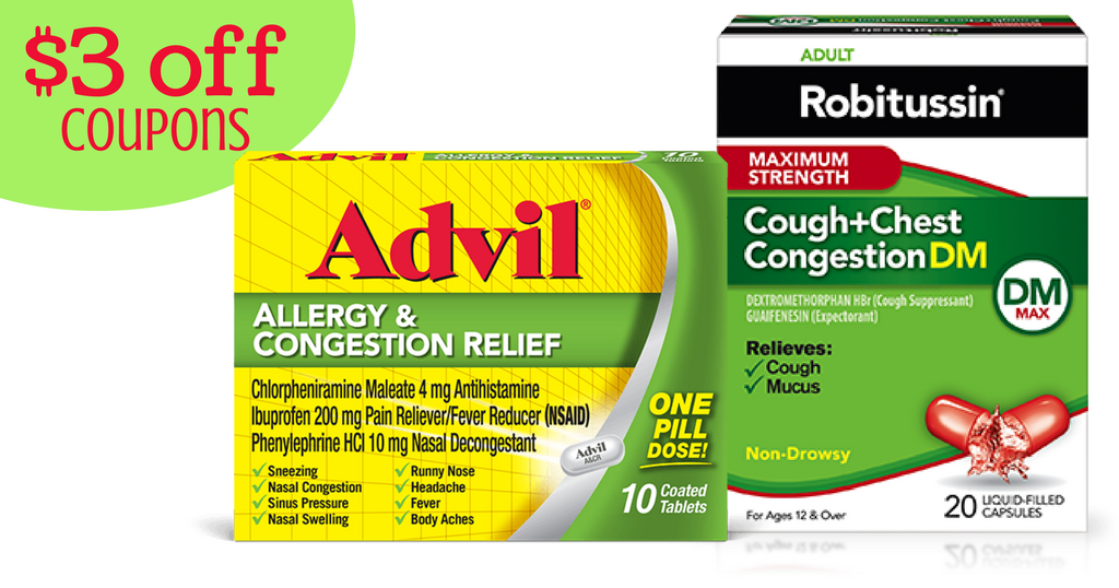 photograph relating to Advil Printable Coupon titled Contemporary Substantial Worthy of Robitussin Advil Coupon codes :: Southern Savers