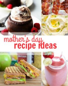 Here's a list of Mother's Day recipe ideas that would be great for breakfast or brunch, lunch, or dinner. Pass this list along to your spouse or kids!