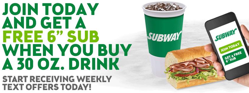 Subway 6 dollar coupon