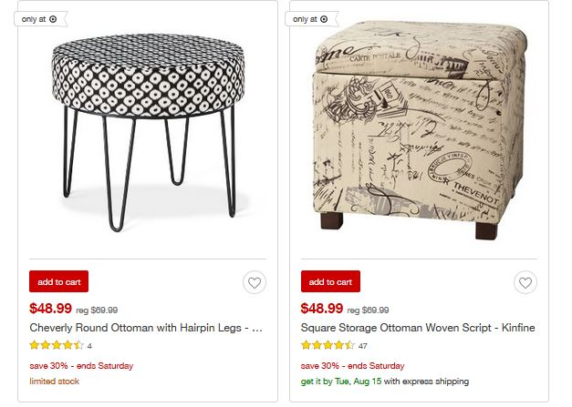 Target Sale 30 Off Accent Furniture Ottomans Southern Savers