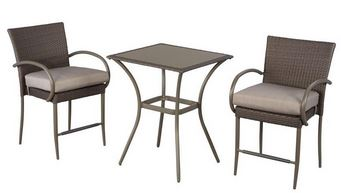 Cute Posada Piece Balcony Height Patio Bistro Set with Gray Cushions u reg
