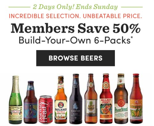 50 off build your own craft beer 6 pk sat sun only for How to craft your own beer