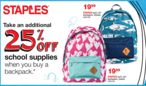 611e7122e884 This week if you buy a backpack you ll get a coupon for 25% off school  supplies that you can turn around and use in the very next transaction.