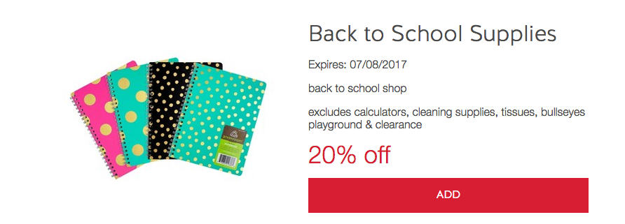 Discount school supply coupon 20 off