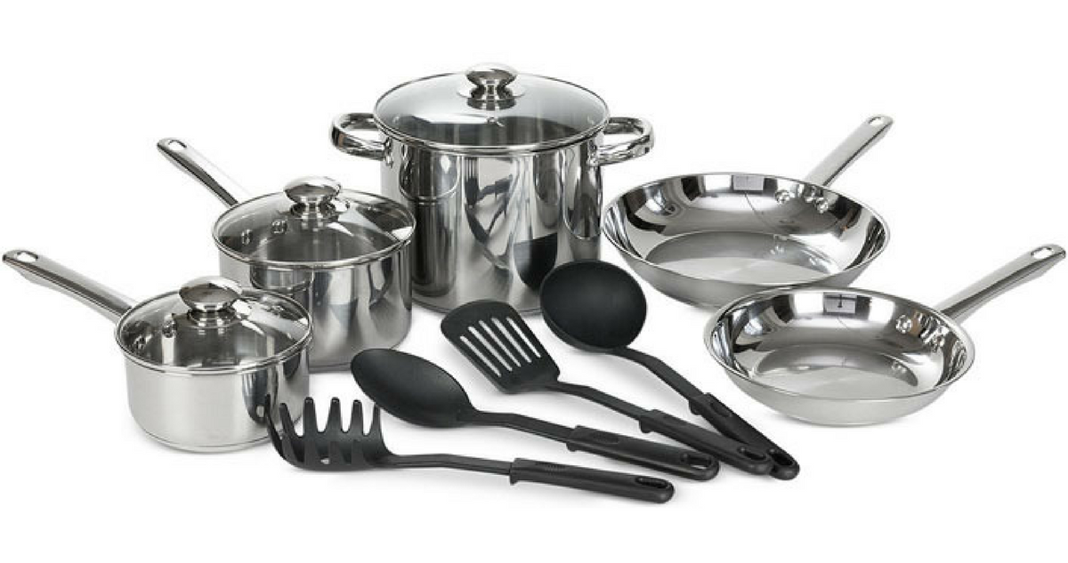 Macy 39 s cookware deal 12 piece stainless steel set for for Peralatan kitchen set