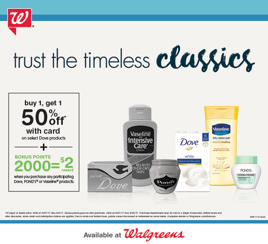 B1G1 50% off Dove Products and 2,000 Bonus Points on Dove, Vaseline & Pond's at Walgreens