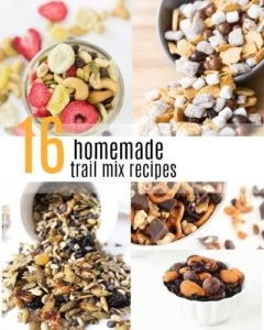 Trail mix is a great snack for taking on the go or taking on hikes (hence the name!). Here's a list of 16 trail mix recipes you can make at home!