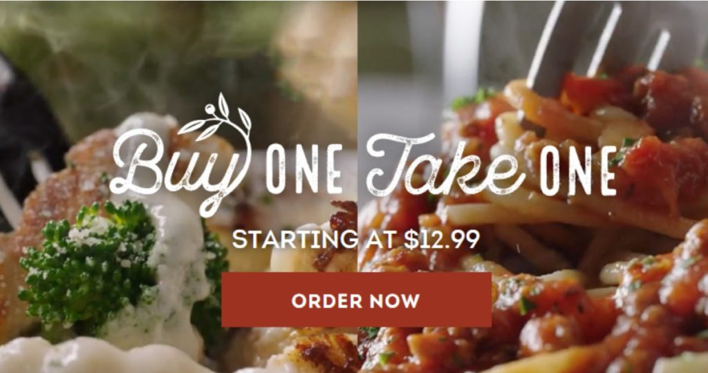 Olive Garden Buy One Take One Meals Southern Savers