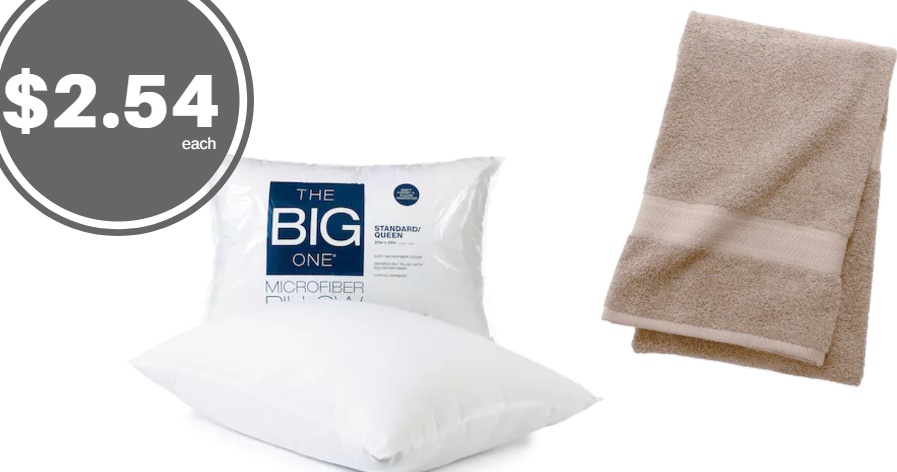 Kohl S Microfiber Pillow And Bath Towel Just 2 54 Each
