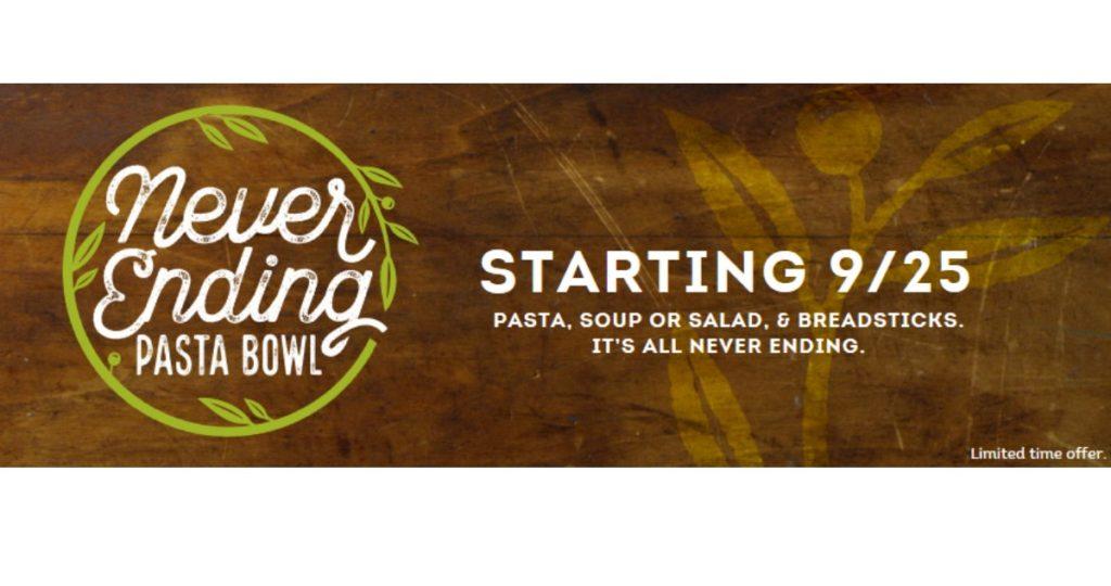 Olive Garden Never Ending Pasta Southern Savers
