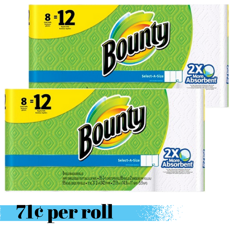 graphic about Bounty Printable Coupons titled Bounty Paper Towels, 71¢ For each Roll :: Southern Savers