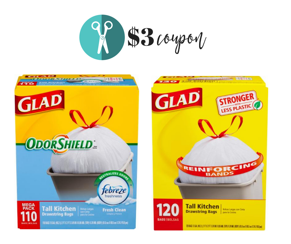 picture about Glad Trash Bags Printable Coupon titled Clean $3 Off Happy Trash Luggage Coupon :: Southern Savers