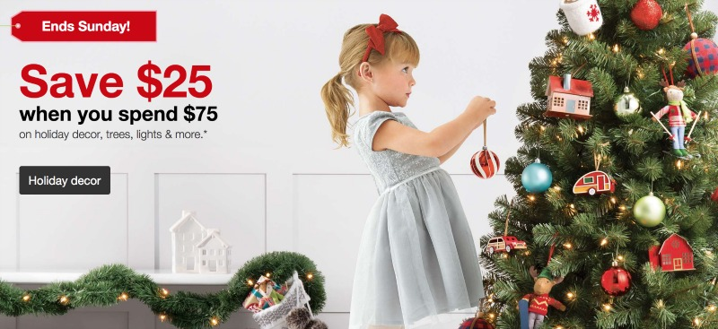 now through sunday get 25 off any 75 order in holiday decor from targetcom this includes lights trees ornaments stockings gift wrap and more - Target Christmas Tree Lights