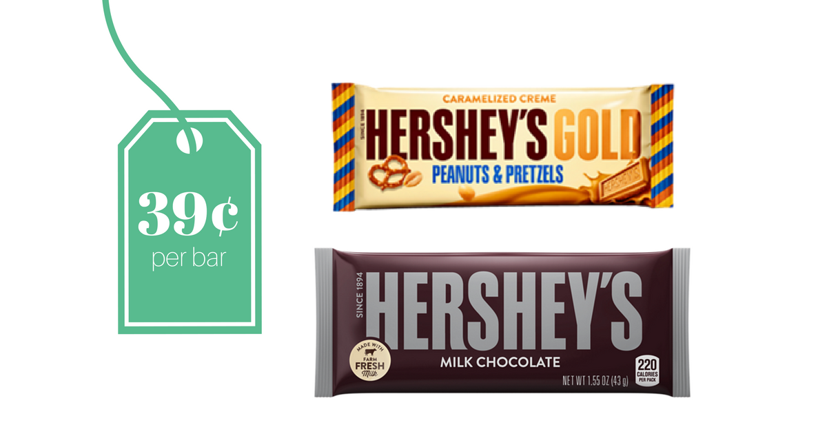 (Deal ends 1/27) This week at CVS there is a Buy 1 Get 1 FREE Sale on the Hershey's Chocolate Bars! Plus, you can use the Buy 1 Get 1 FREE Hershey's Bar CVS App Coupon (limit 1 per customer) to score both bars for FREE!