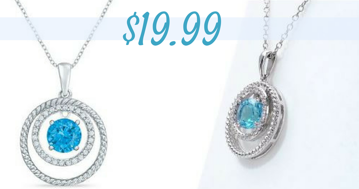 8efe69202 Head over to Zales where they are offering their Swiss Blue Topaz and White  Sapphire Double Circle Pendant in Sterling Silver for $19.99!