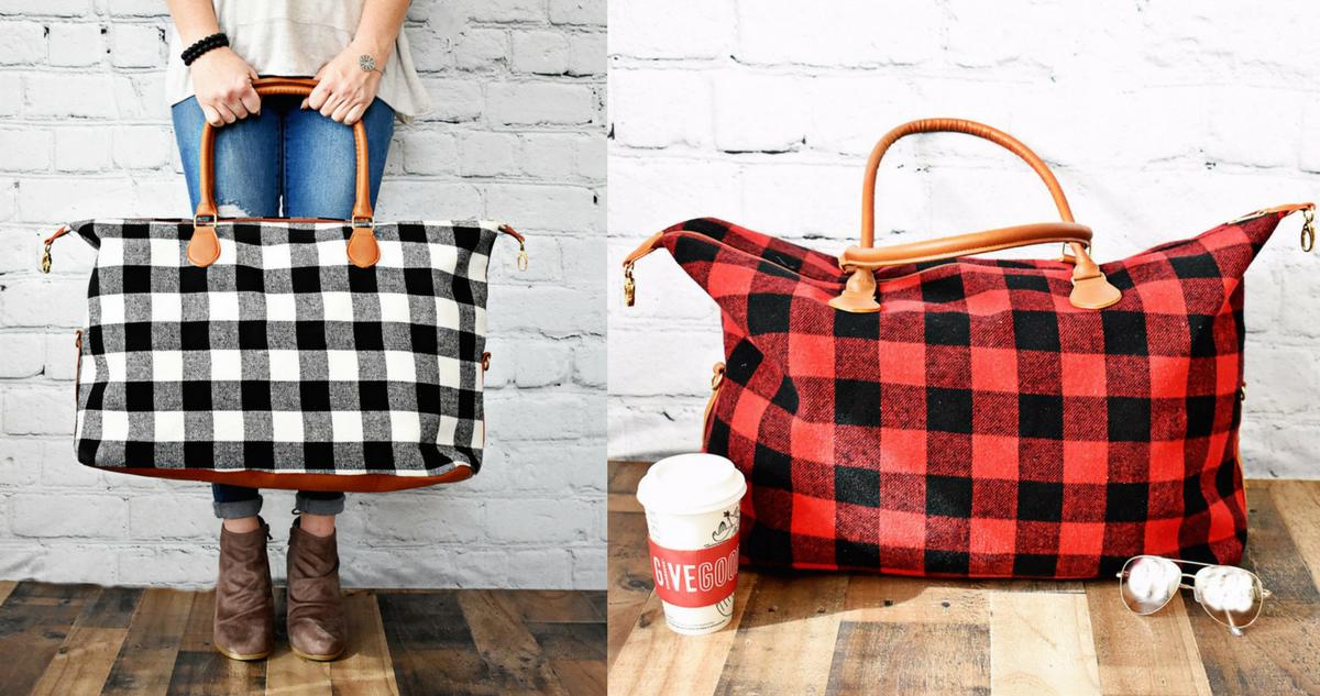 Buffalo Check Weekender Bag, $24.99 (reg. $49.99) :: Southern Savers
