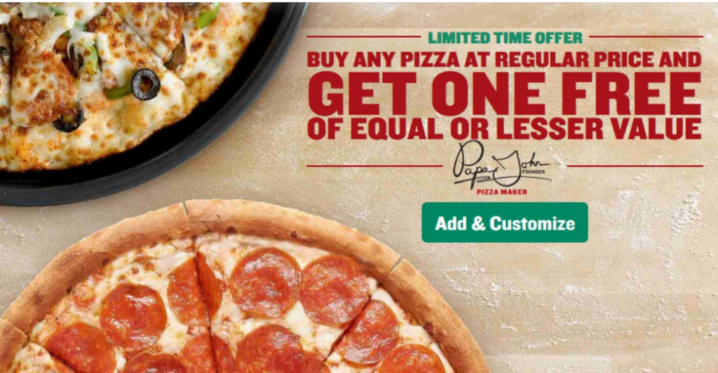 Papa John S Coupon Code Bogo Pizza Today Only