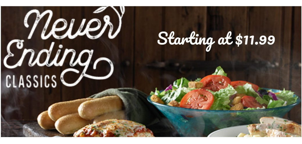 Olive Garden Never Ending Classics For Southern Savers