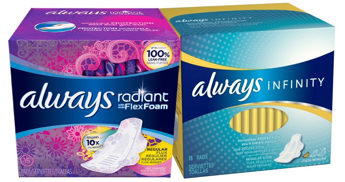 Always Coupon | Infinity or Radiant Pads for $2 49
