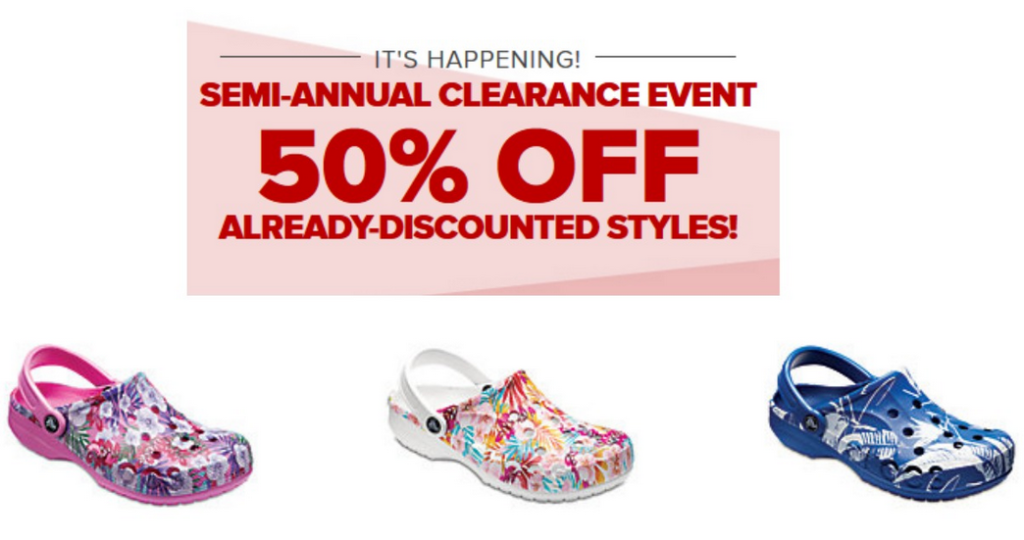 5bcf6d109 Head to Crocs where they are having their Semi-Annual Clearance Sale to  save an extra 50% off select Clearance Styles and Colors.