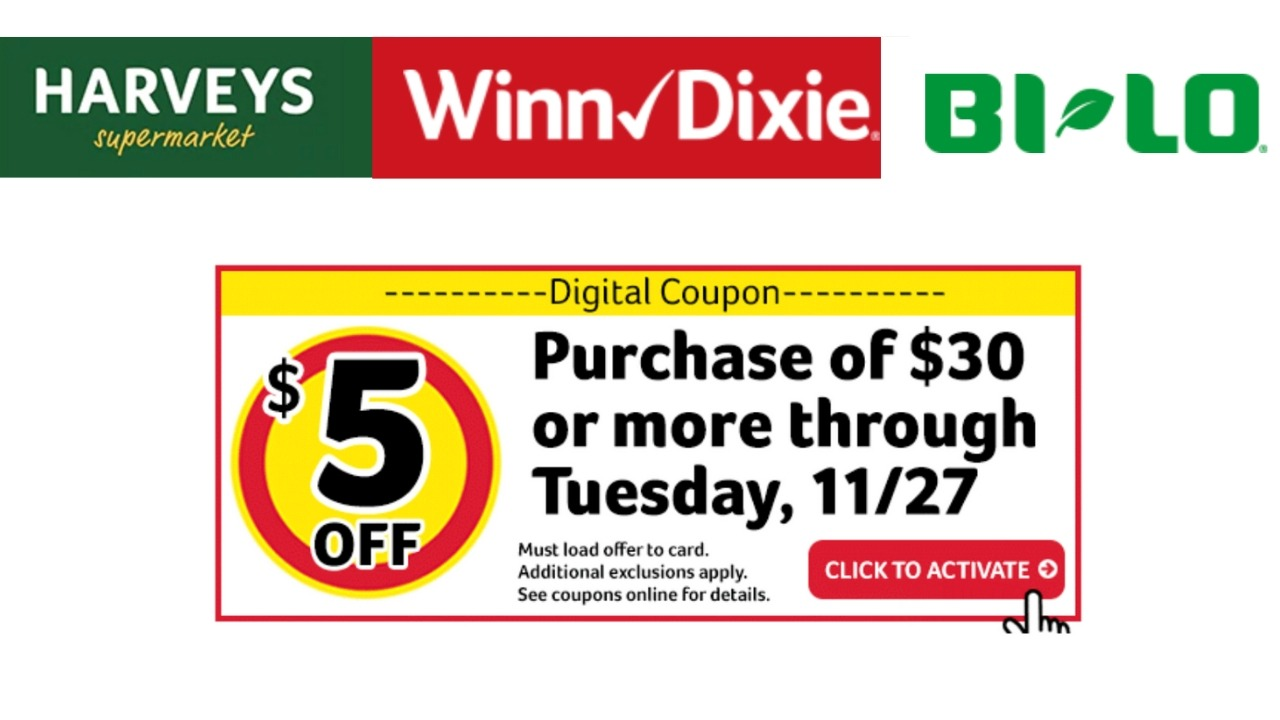 photo relating to Big 5 $10 Off $30 Printable titled $5 off $30 Invest in at Bi-Lo, Winn Dixie Harveys
