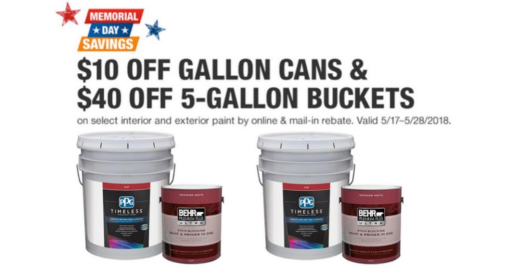 Home Depot Paint 40 Off 5 Gallon Buckets