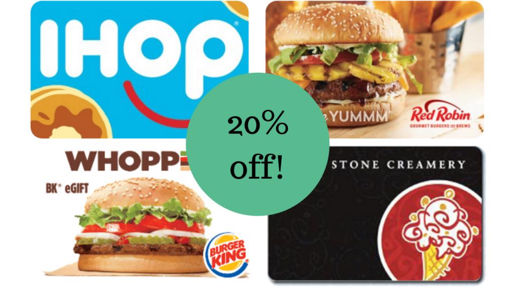 Select Restaurant Gift Cards | 20% off at Kroger.com