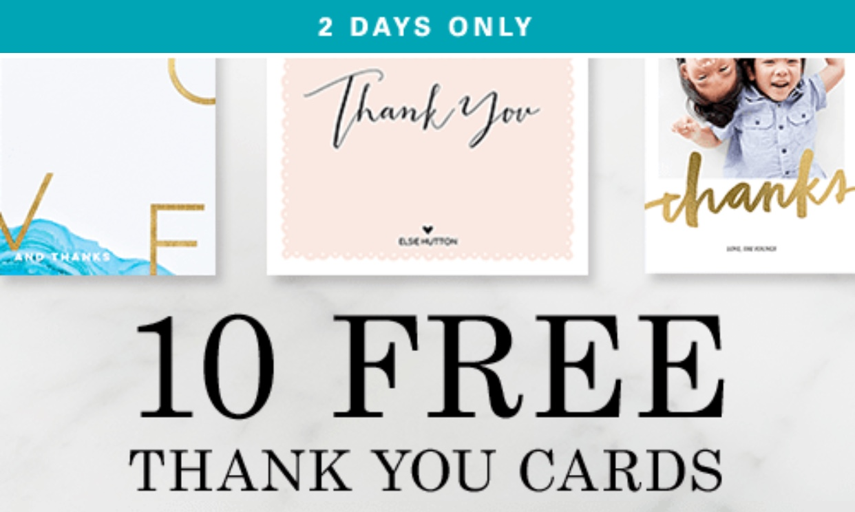 Now Through Tuesday Night Tinyprints Is Offering 10 Free Thank You Cards When Use The Promo Code 10free At Checkout