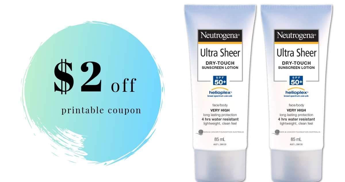 picture about Neutrogena Printable Coupons titled Neutrogena Suncare Coupon Conserve 50% upon Sunshine Show
