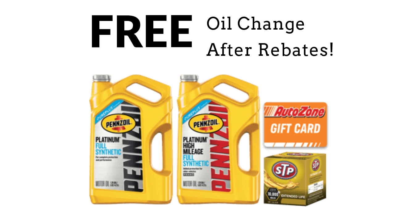 Full Synthetic Oil Change Coupon >> 5 Quarts of Pennzoil Full Synthetic Oil & Oil Filter - FREE after Rebates! :: Southern Savers