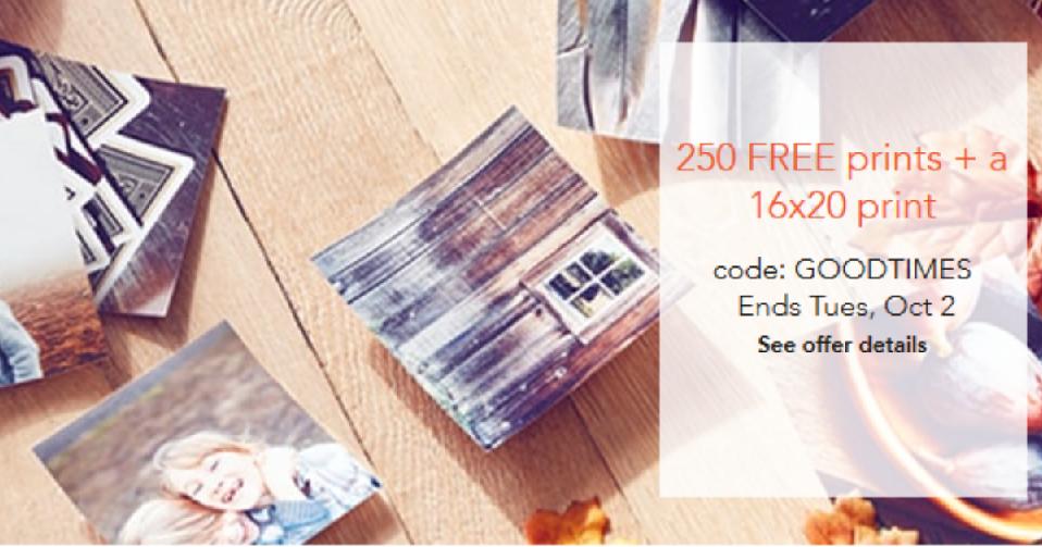 Shutterly 250 Free Prints Free 16x20 Print Southern Savers