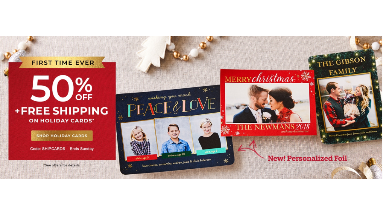 First Time Ever! 50% off Holiday Cards From Shutterfly + Free ...
