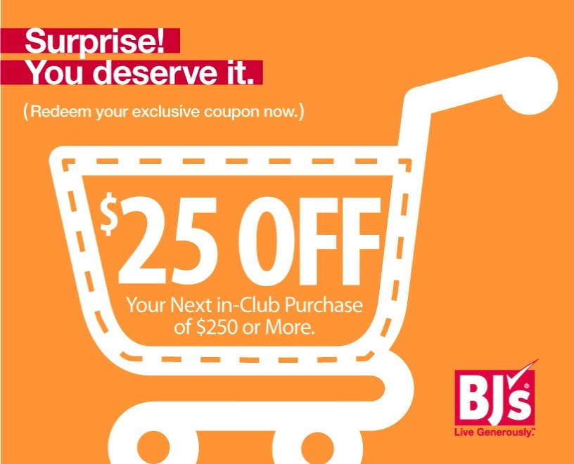 picture about Bjs Printable Coupons called $25 off any BJs Club Order of $250+ :: Southern Savers
