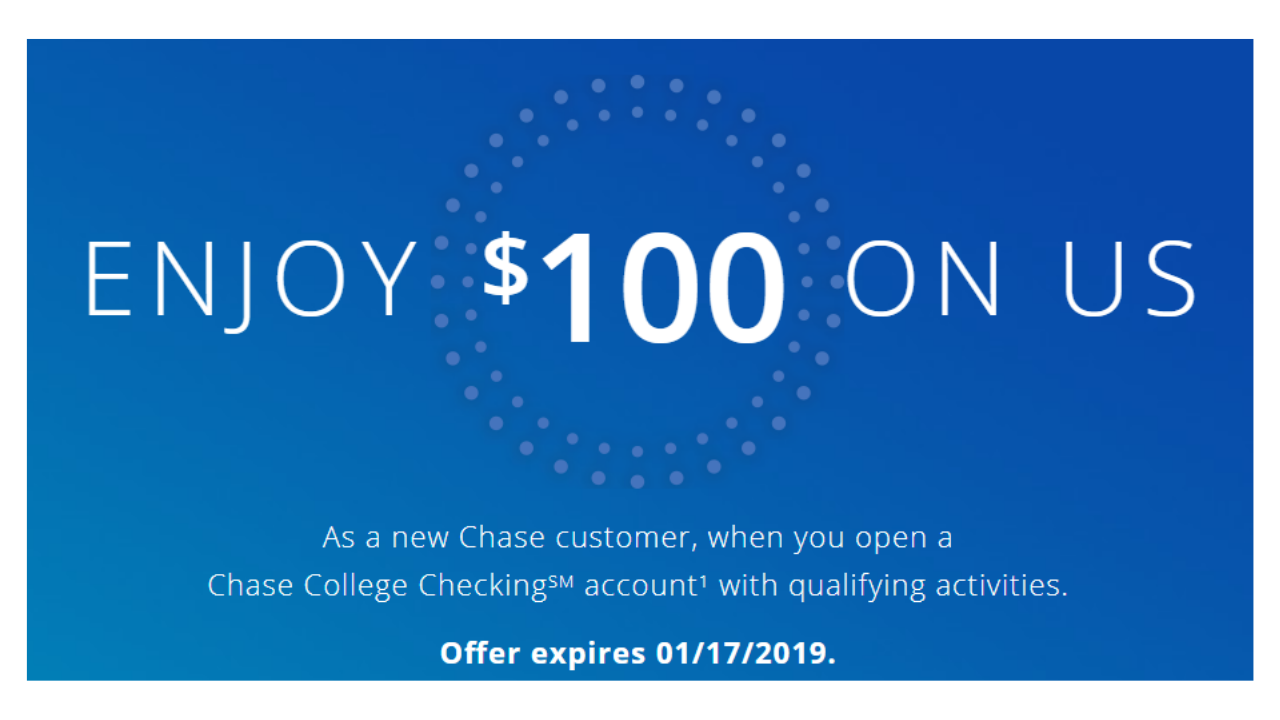$100 Chase College Checking Sign Up Bonus :: Southern Savers