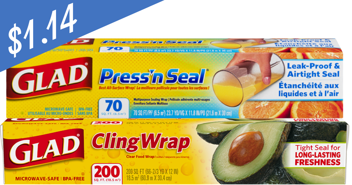 Glad Coupons   Makes Cling Wrap or Press 'n Seal $1 14