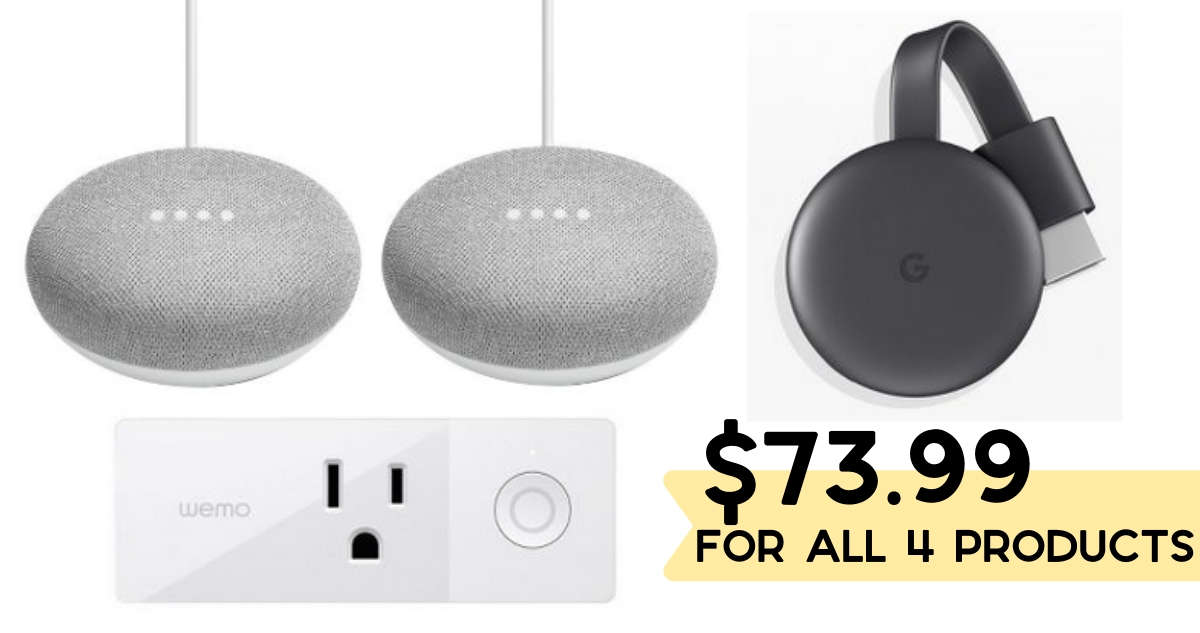 2 Google Home Speakers, Smart Plug & Chromecast for $73 99