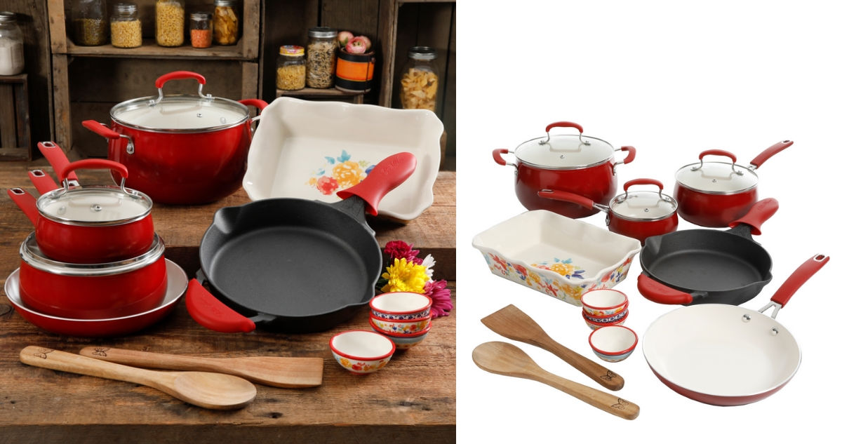 The Pioneer Woman 17 Piece Cookware Set For 59