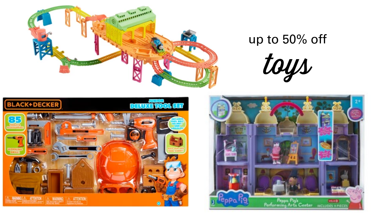 1a34ed7ec97 If you're looking for last minute toy deals, head over to Target and get up  to 50% off toys! Plus, if you have a Target RedCard, you'll get an  additional 5% ...