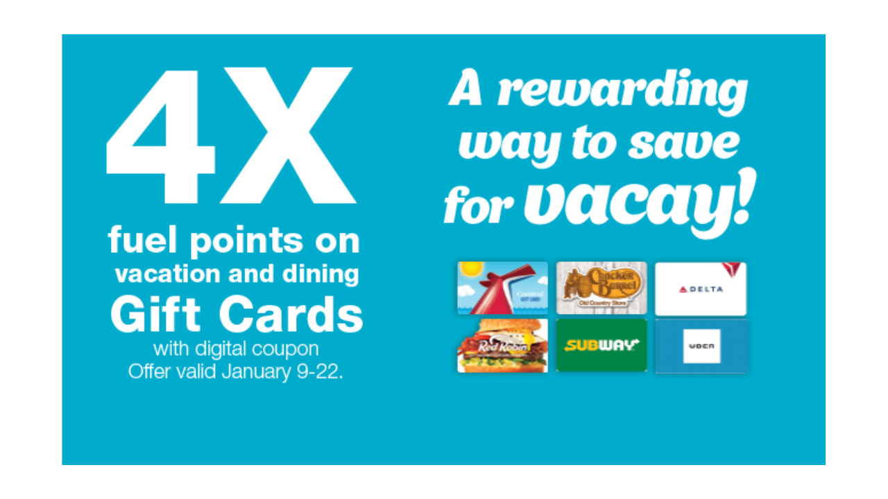 gift cards available kroger 4x kroger fuel points on vacation amp dining gift cards 10862