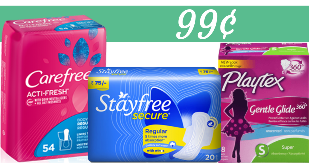 kroger deals  99 u00a2 stayfree  carefree and playtex products